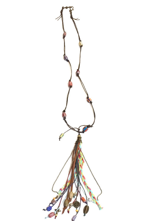 Leather Trade-Bead Necklace