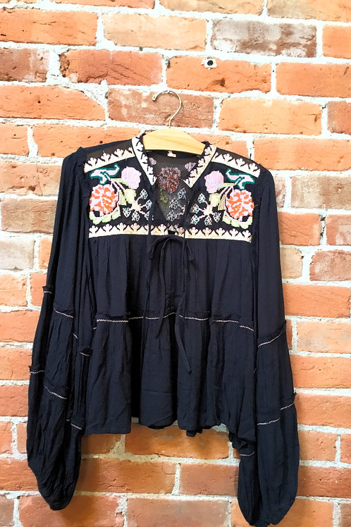 Free People Embroidered Black Top