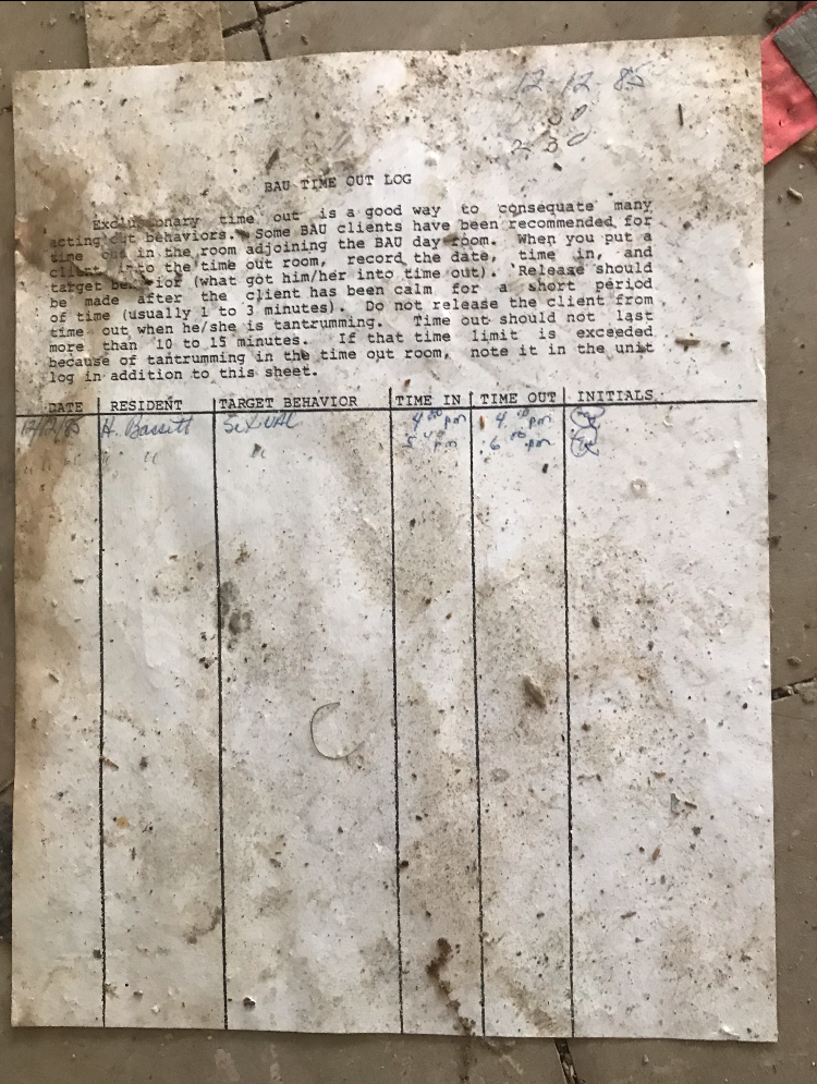 Abandoned Forest Haven Asylum Log Document