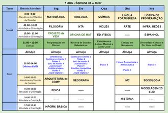 Horário para trabalho online CEMI-Gama Semanal - 06/07 a 10/07