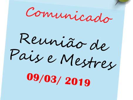 Reunião de Pais e Mestres para 2º e 3º anos.