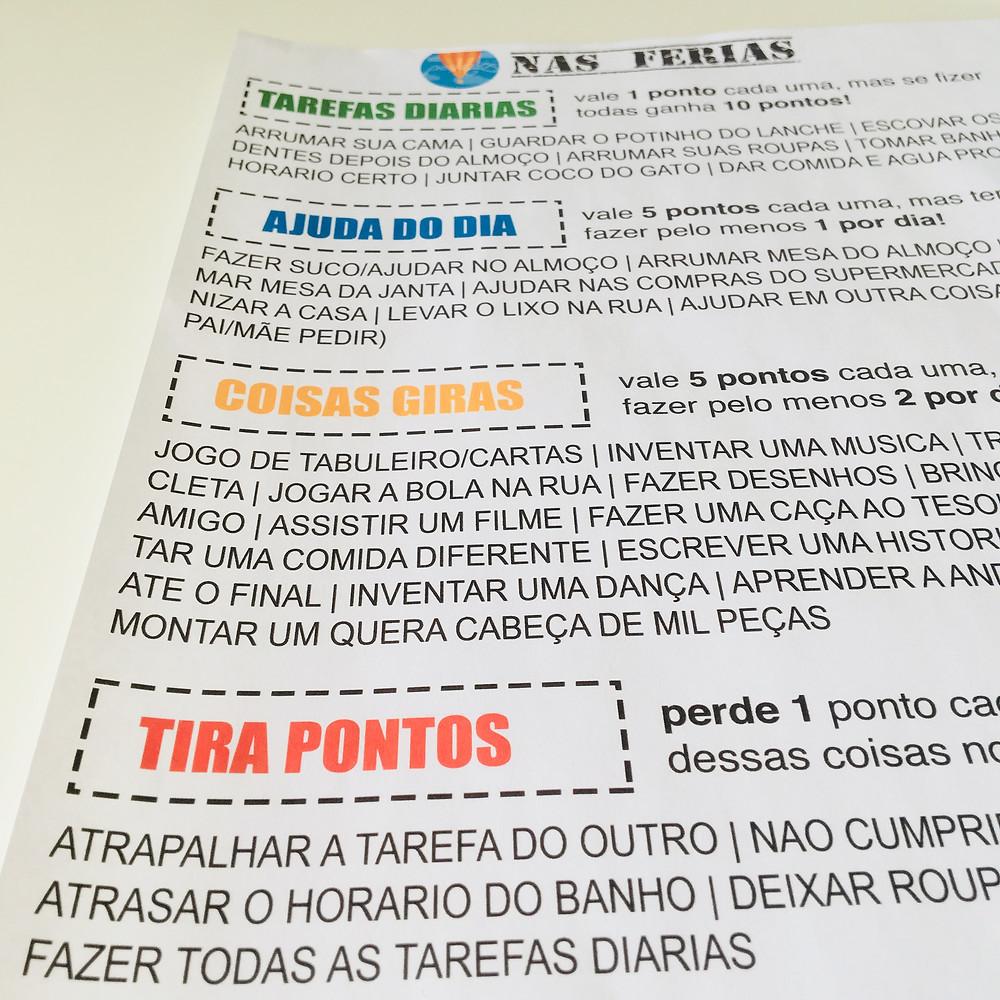 miúdos em ferias, pedablios nas ferias, quadro de tarefas, quadro de recompensa, rotina, portugal com filhos