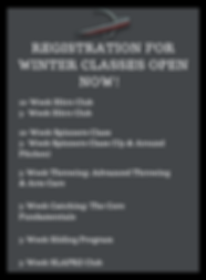REGISTRATION FOR WINTER CLASSES OPEN NOW