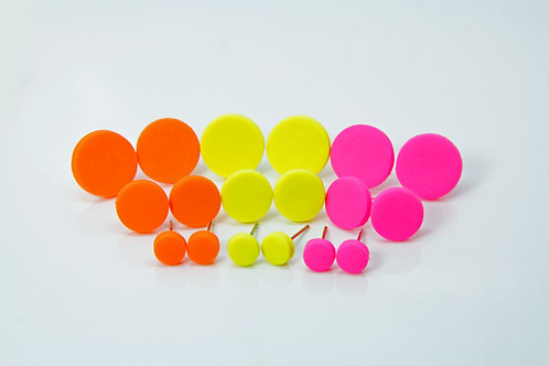 Neon stud earrings 6-10mm - Polymer clay - Matte finish