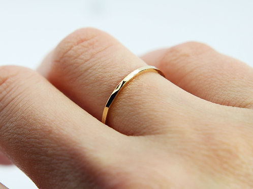 9ct Yellow gold wedding band - River - Thin wedding band - skinny wedding ring