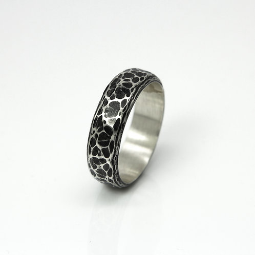 Jupiter - Sterling silver - Patina silver ring - Oxidised silver - wedding band