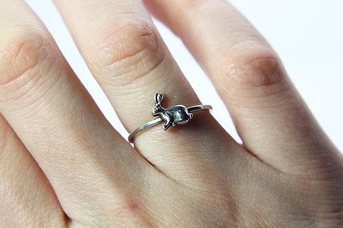 Rabbit ring - Sterling silver ring - Animal ring