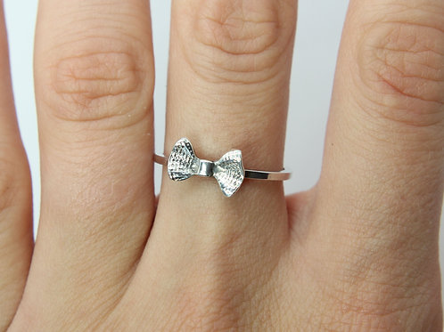 Bow ring - Sterling silver ring - Girly ring