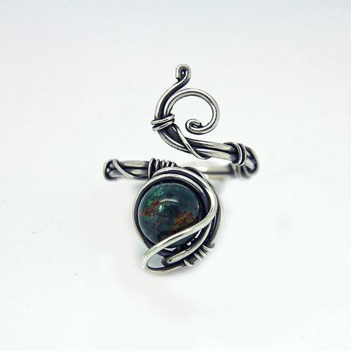 Bloodstone ring 'Romeo' - Sterling silver ring - Heliotrope - gemstone