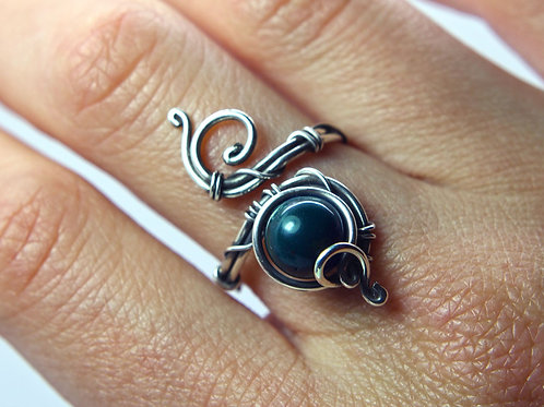 Bloodstone ring 'Fire' - Sterling silver ring - Heliotrope ring - gemstone