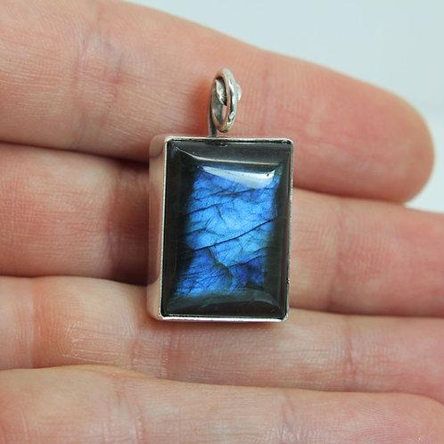Blue Labradorite pendant 'Mirror' sterling silver pendant -necklace - gemstone