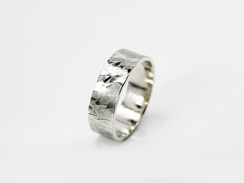 Neo - Sterling silver ring - Men's ring - textured band - hammered silver ring