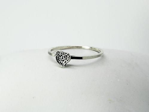 Filigree heart ring - Sterling silver ring - Love ring