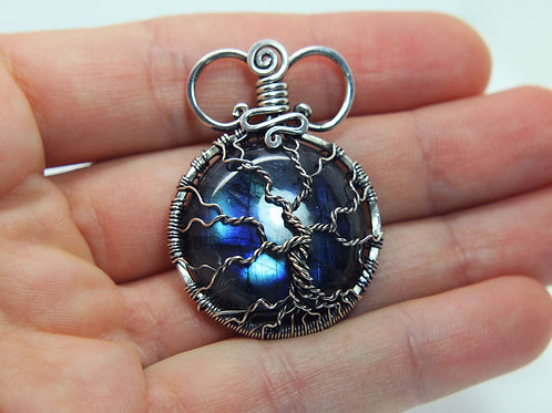 Blue Labradorite Tree of life pendant 'Earth' Sterling silver - gemstone