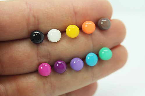 Round stud earrings 6-10mm - Polymer clay - Gloss finish