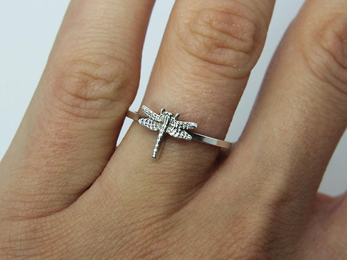 Dragonfly ring - Sterling silver ring - Insect ring