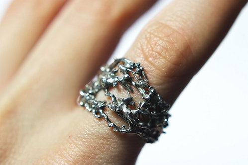 Lava - Sterling silver ring - wide massive silver ring - man's ring