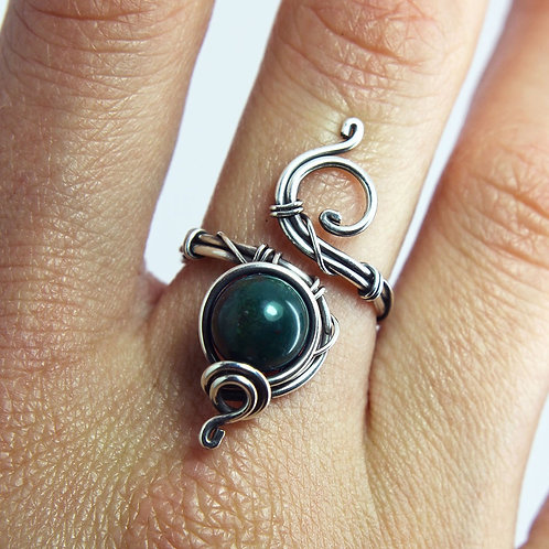 Bloodstone ring 'Leona' - Sterling silver ring - Heliotrope ring - gemstone