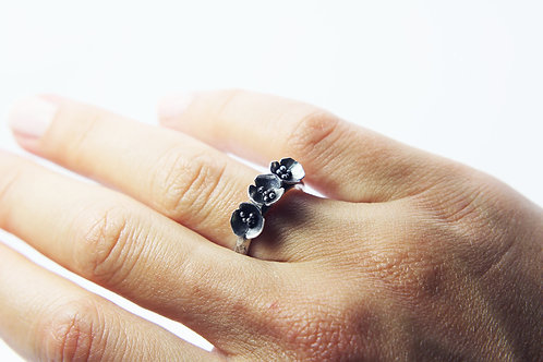 Blossom ring - silver poppy ring - bouquet ring - silver flower - floral