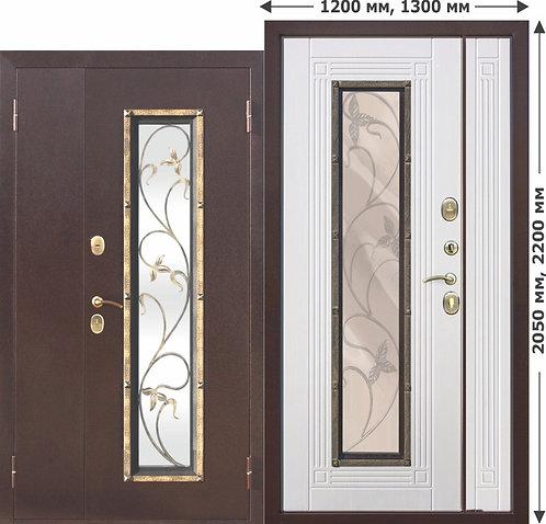 Входная металлическая нестандартная дверь со стеклопакетом Плющ 1200х2050, 1300х