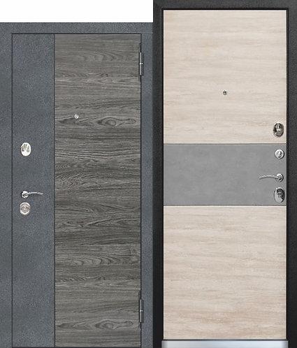 Входная дверь 9,5 см ОРЛАНДО Бетон графит, Вяз каньон вековой / Дуб винтаж белый