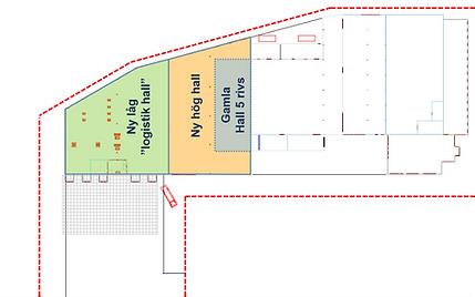 Logistics consultant - Sim Logistics - Sketch showing plot border, warehouse building and extension plans.