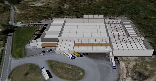 Logistics consultant - Sim Logistics - Aerial photo with 3D modelled warehouse buildings made in flow simulation program.