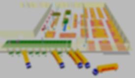 Logistikkonsult - Sim Logistics - 3D modellerad produktions- och lagerbyggnad med lagerlayout, laster och utrustning i simuleringsprogram.