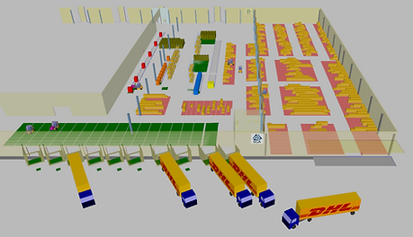 Logistics consultant - Sim Logistics - 3D modelled production- and warehouse building with layout, loads and equipment made in flow simulation program.