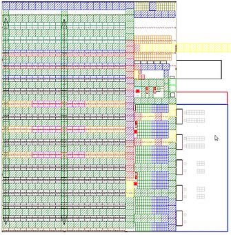Logistikkonsult - Sim Logistics - Skiss över lagerlokal och layout med markerad körfrekvens efter genomförd flödessimulering.