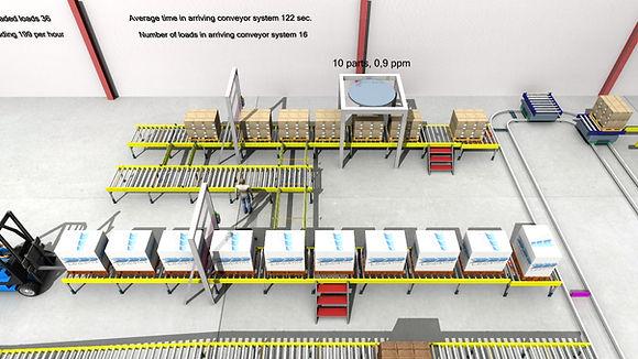 Logistikkonsult - Sim Logistics - Visuell kontroll av körisk på bansystem under pågående 3D flödessimulering.