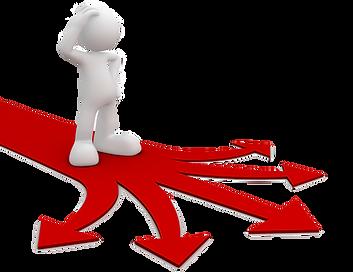 Logistikkonsult - Sim Logistics - Fundersam gubbe inför ett vägval behöver utvärdering och beslutsunderlag.
