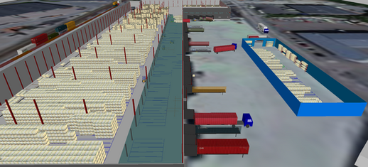 Logistics consultant - Sim Logistics - View from 3D flow simulation of warehouse, layout and yard traffic.