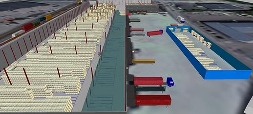 Logistikkonsult - Sim Logistics - Vy från 3D flödessimulering av lagerlokal inklusive gårdstrafik.