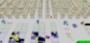Logistikkonsult - Sim Logistics - Vy från 3D flödessimulering av lagerverksamhet.