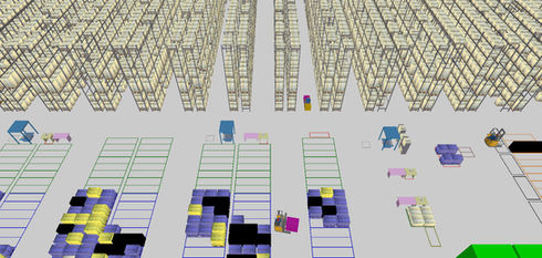 Logistics consultant - Sim Logistics - View from 3D flow simulation of warehouse business.