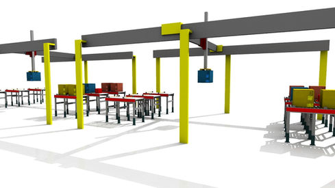 Logistics consultant - Sim Logistics - 3D flow simulation of sorting and picking of boxes with area gantry robot.
