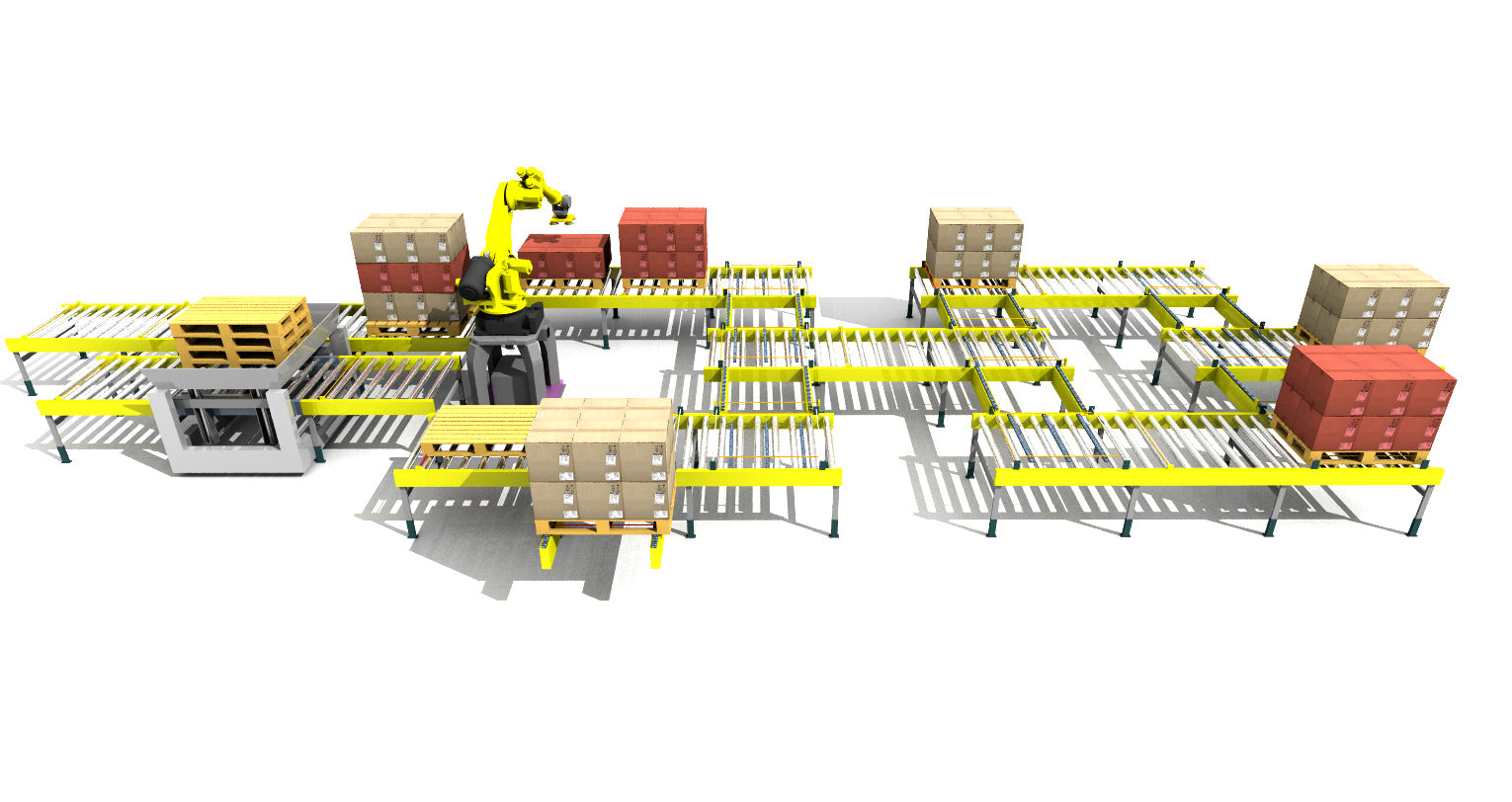 Sim Logistics - Conveyor System Layer Pick Robot