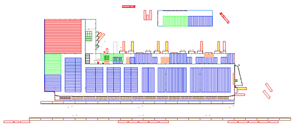 Logistics consultant - Sim Logistics - Drawing over warehouse and layout made in flow simulation program.