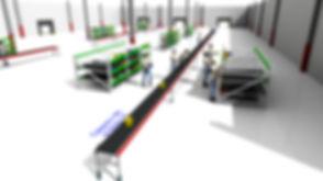 Logistikkonsult - Sim Logistics - 3D flödessimulering av orderplockning från flowracks plockfasad till rullband.