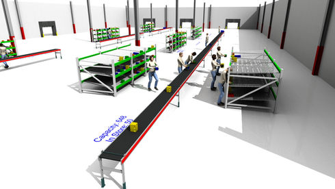 Logistics consultant - Sim Logistics - 3D flow simulation of order picking from flowracks to belt conveyor.