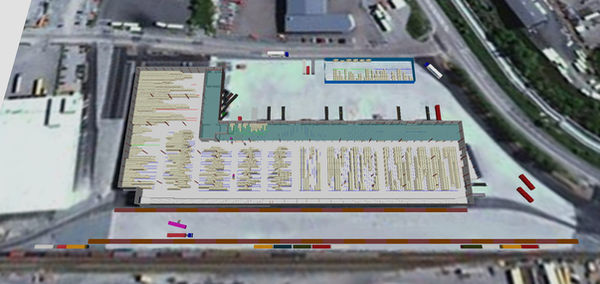 Logistics consultant - Sim Logistics - View from above with warehouse and layout made in visualization and flow simulation program.