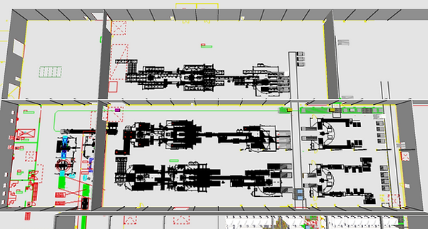 Logistics consultant - Sim Logistics - CAD drawing with 3D modelled building, loads and material handling equipment.