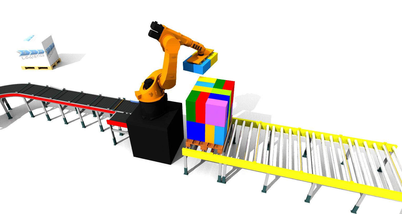 Sim Logistics - Robot Palletizing Complex Pallet Pattern