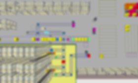 Logistikkonsult - Sim Logistics - Visuell kontroll av körisk på bansystem under 3D flödessimulering.