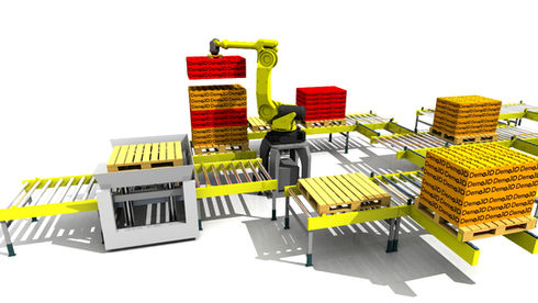 Logistics consultant - Sim Logistics - 3D flow simulation of automated system with robot layer picking.