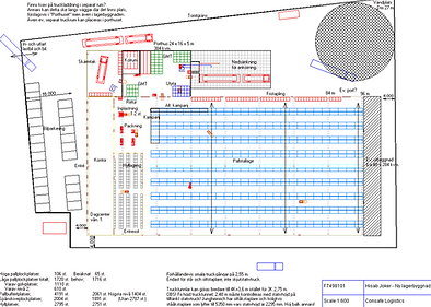Logistics consultant - Sim Logistics - Sketch over plot with designed warehouse building, layout and equipment.