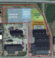 Logistikkonsult - Sim Logistics - Flygfoto med tomt, lagerlokal och utbyggnadsplaner.