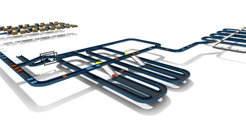 Logistics consultant - Sim Logistics - 3D flow simulation of baggage handling system at airport.