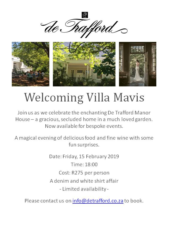 Join us for a celebration at De Trafford Manor House on Friday, 15 February 2019. This event promises to be an exciting evening filled with delicious food, fine wine and surprises!